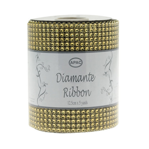 Diamante Ribbon 12cm x 4.5m Roll Gold