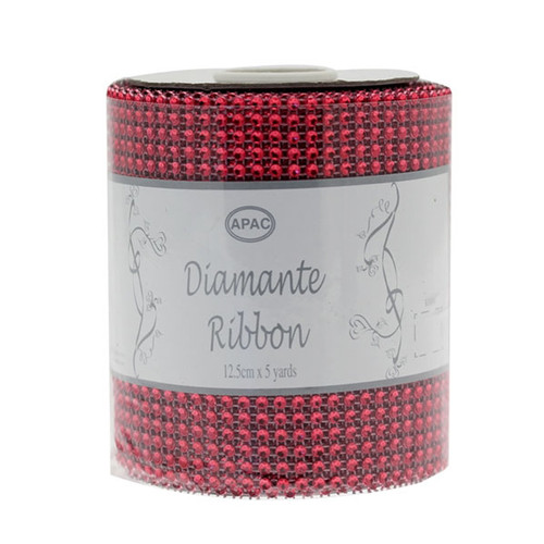 Diamante Ribbon 12cm x 4.5m Roll Red