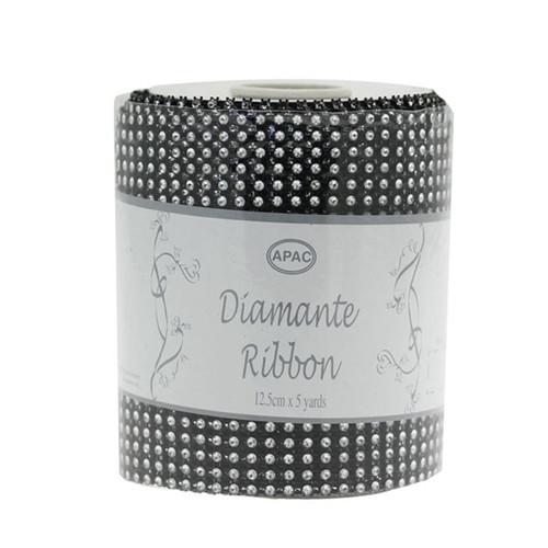 Diamante Ribbon 12cm x 4.5m Roll Silver Black