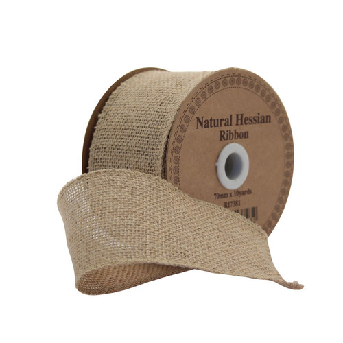Hessian Ribbon Natural 70mm/2.75 inches  wide x 9m/10yds roll