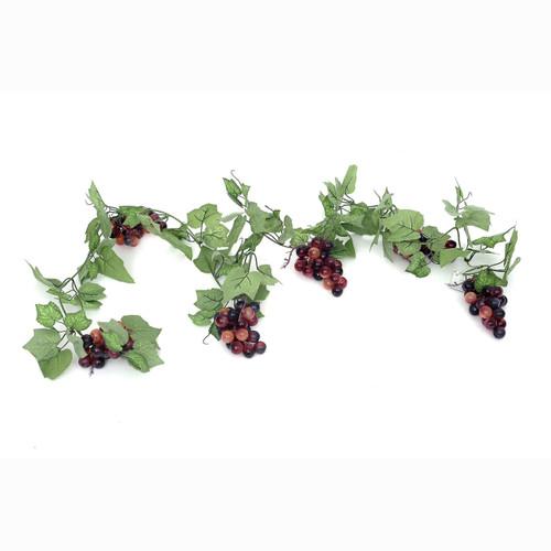 Grapes on Vine Garland 180cm/6ft Red