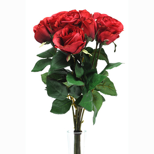 Rose Bunch Red 9 Individual Stems 42cm