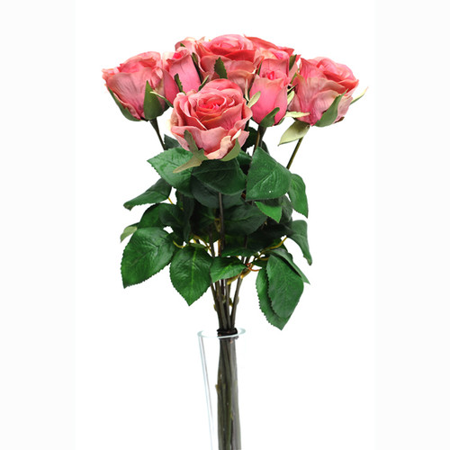 Rose Bunch Pink 9 Individual Stems 42cm
