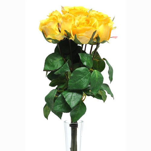 Rose Bunch Yellow 9 Individual Stems 42cm