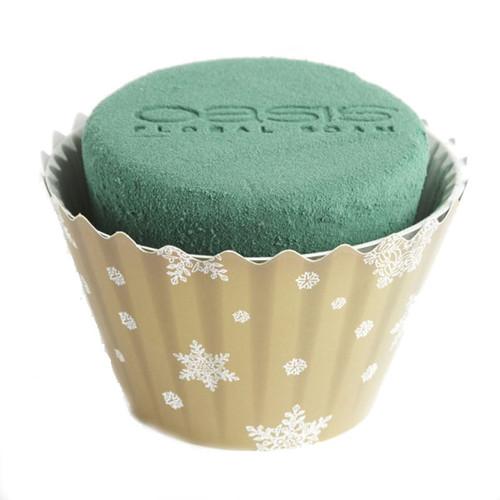 Oasis® Cupcakes Large x 6 Christmas Gold White Snowflake
