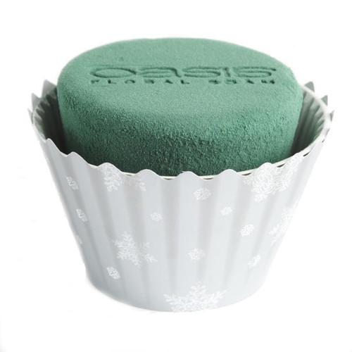 Oasis® Cupcakes Large x 6 Christmas Silver White Snowflake