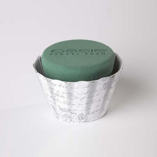 Oasis® Cupcake 6 x 12cm White/Silver Rose