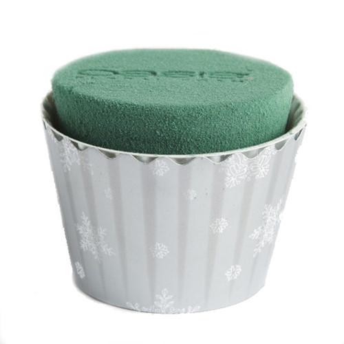 Oasis® Cupcakes small x 6 Christmas Silver White Snowflake