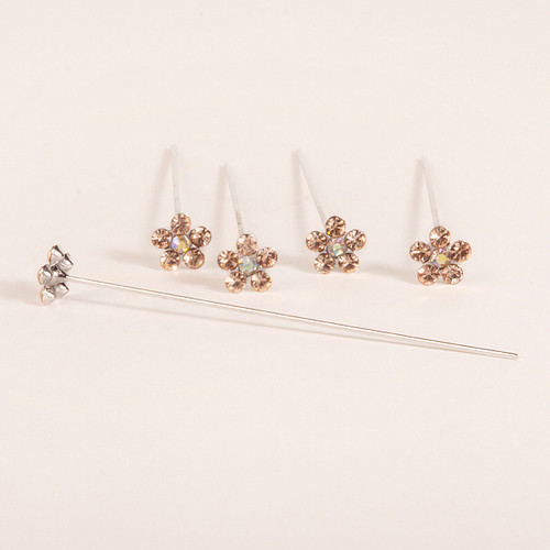 Faux Diamond Flower Pins x 5 Coral
