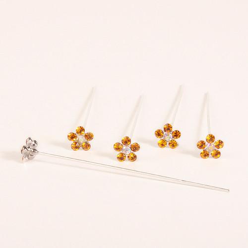 Faux Diamond Flower Pins x 5 Gold