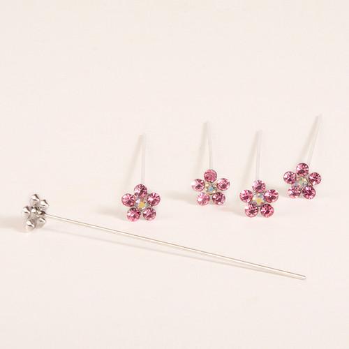 Faux Diamond Flower Pins x 5 Pink