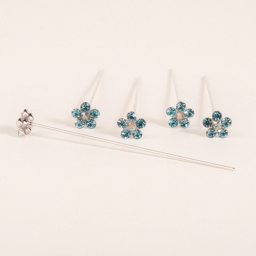 Faux Diamond Flower Pins x 5 Turquoise