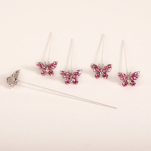 Faux Diamond Butterfly Pins x 5 Pink
