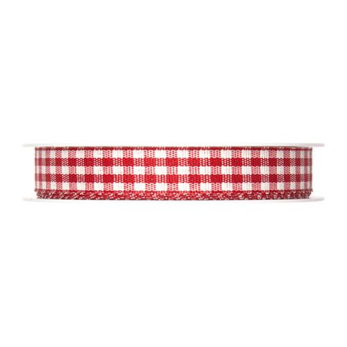 Gingham Check Ribbon Red 15mm