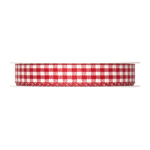 Gingham Check Ribbon Red 15mm