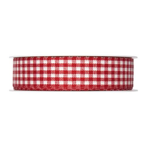 Gingham Check Ribbon Red 25mm
