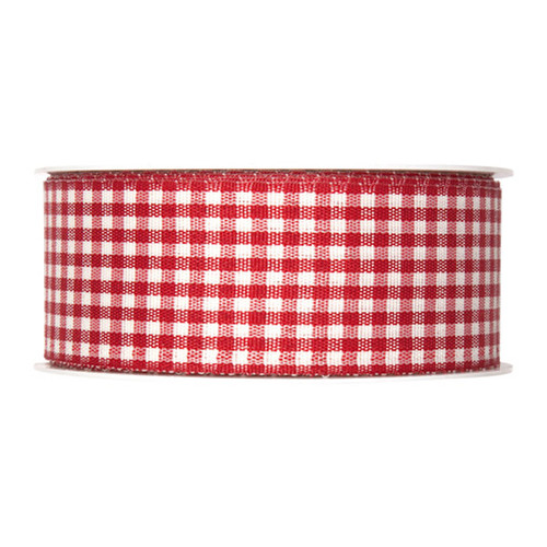 Gingham Check Ribbon Red 40mm