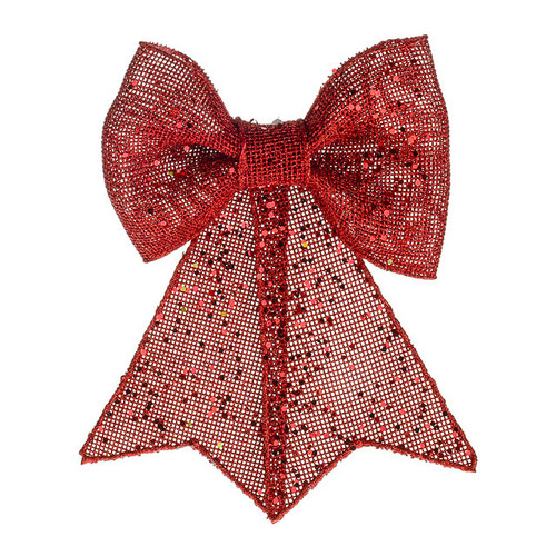 Jute Fabric Bow Decoration Red 24cm