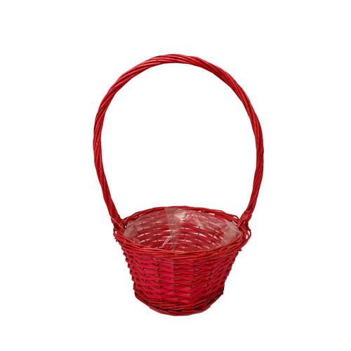 Round Red High-Handled Basket 25cm