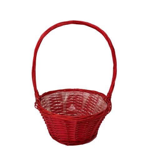 Round Red High-Handled Basket 30cm