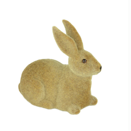 Rabbit Sitting Figure Brown Flocked 13cm