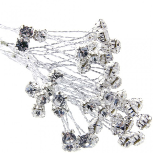 5mm Diamante Branch Silver (x 18 stems) Wedding Craft