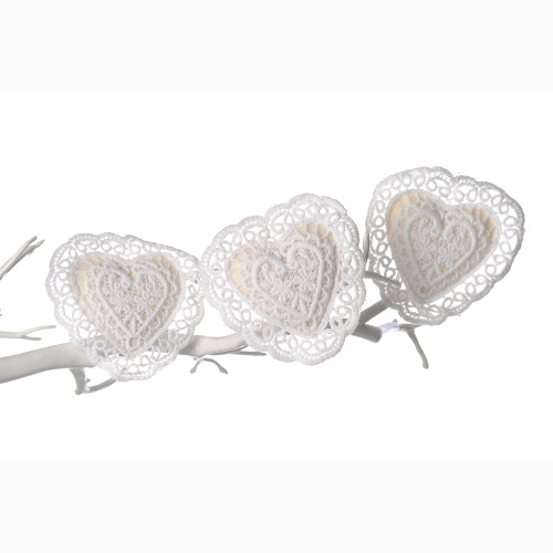 Heart Lace Vintage Style Clips White