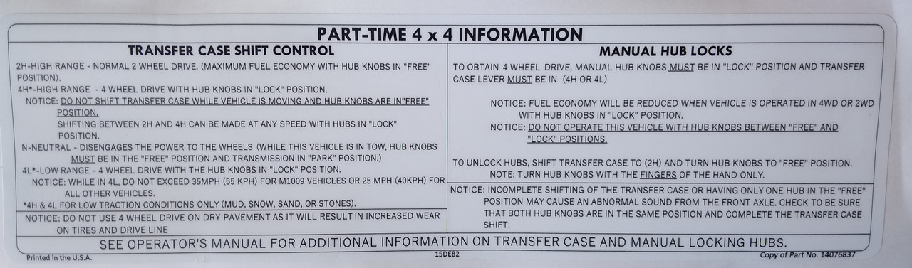 Part Time 4x4 Information
