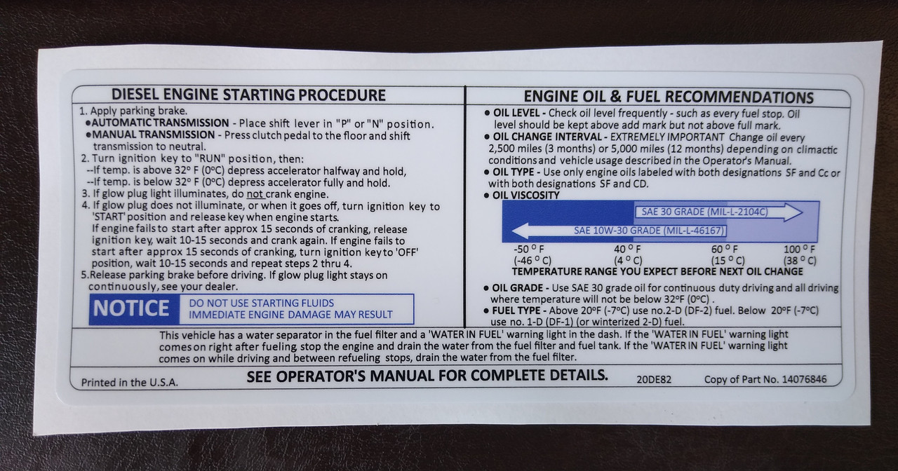 Diesel Engine Starting and Engine Oil Recommendations