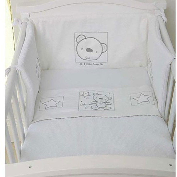 Baby Elegance Crib Quilt & Bumper Star Ted - White