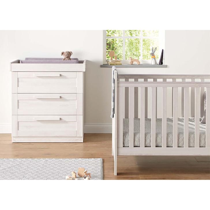 Mamas & Papas Atlas Cotbed & Dresser Package - Nimbus White