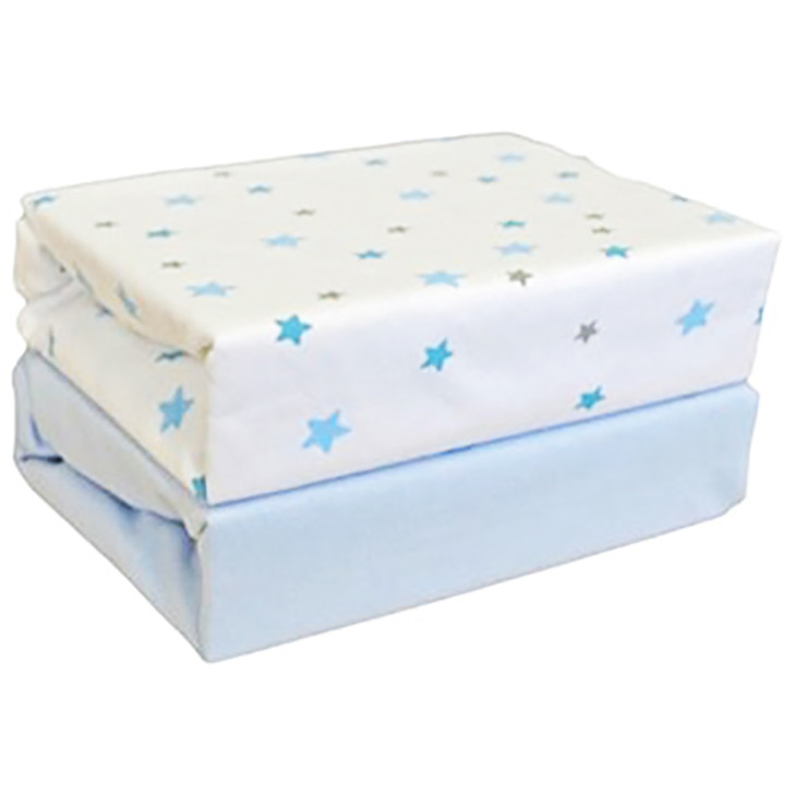 Cuddles Collection- Two Pack Jersey Fitted Sheets - Blue Star