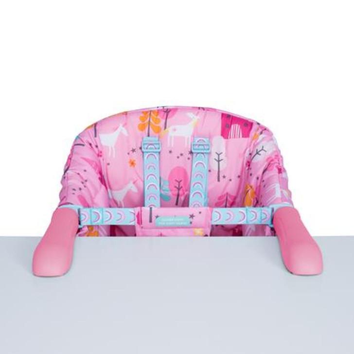 cosatto pink portable high chair in a unicorn design