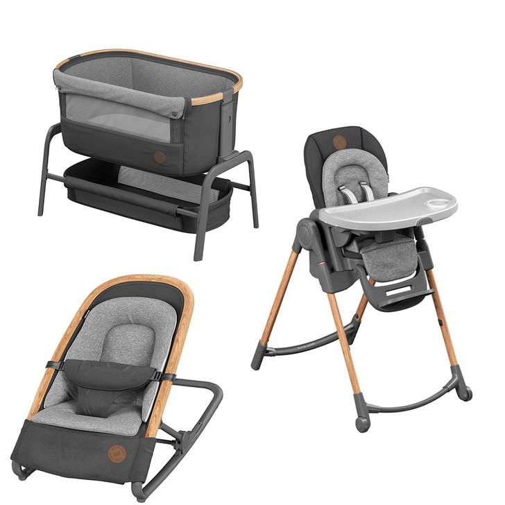 Maxi Cosi Iora Co-Sleeper Crib, Minla Highchair & Kori Bouncer Bundle