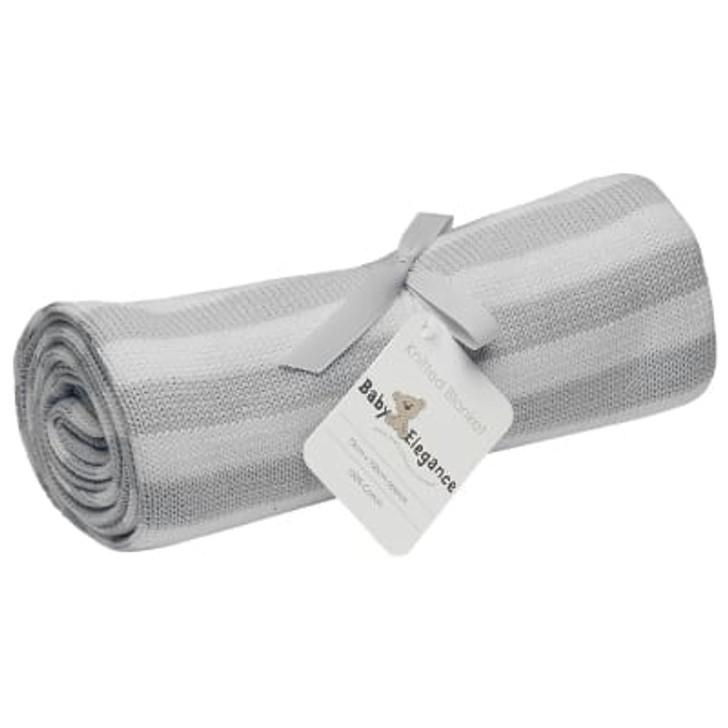 Baby Elegance Grey & White Pearl Knit Blanket