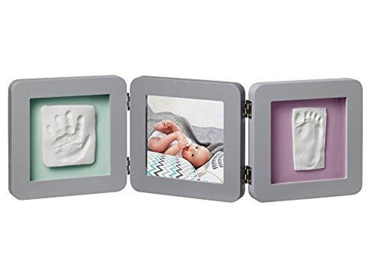 My Baby Touch Rounded Double Print Frame - Grey