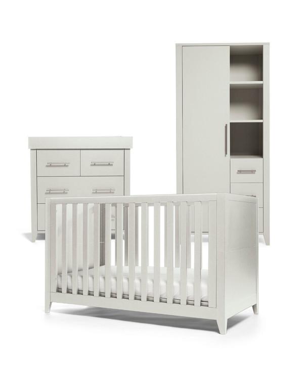 Mamas & Papas Melfi 3 Piece Cotbed Range with Dresser and Storage Wardrobe - Grey