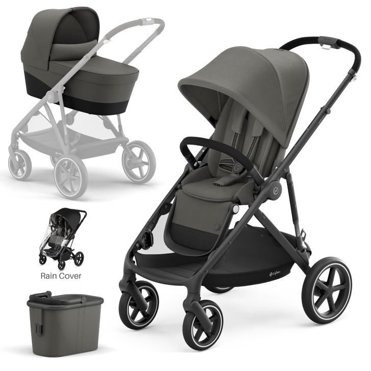 Cybex Gazelle S Pushchair & Carrycot - Black Frame - Grey