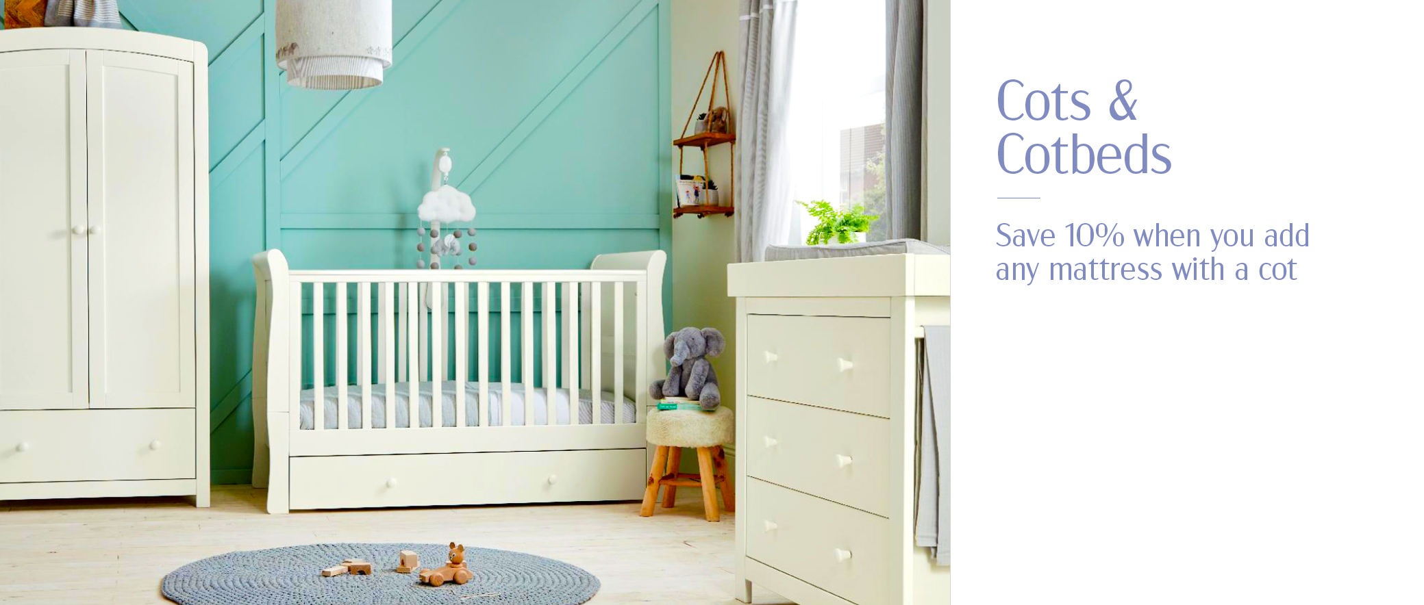 10% off mattress with baby cots and cotbeds