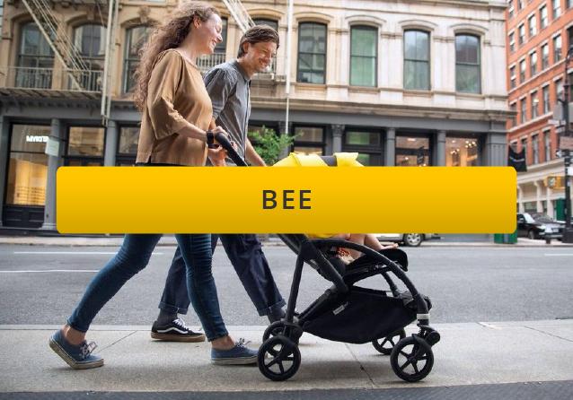 baby in a bugaboo bee5 pushcahir