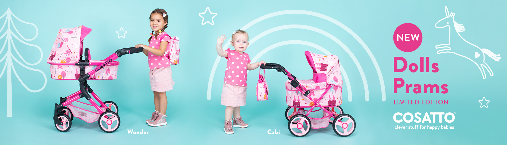 cosatto pink dolls prams with unicorn designs