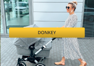 woman pushing a bugaboo donkey twin pushchair