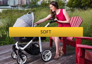 woman in park with venicci soft travel system in grey