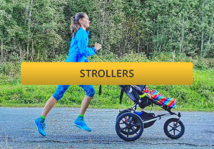 mother jogging with a running buggy