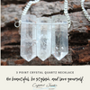 """A beautiful necklace with 3 separate crystal quartz together. Each separate quartz is unique with mother earths own design. The silver plated chain is 21"""" around with no clasp. This crystal quartz is what I call the """"mother of all crystals"""" It comes in various natural formations and cuts and is multipurpose. Clear Quartz is used for clarity, focus, and intention of positive admiration. It opens your mind if your stuck in thoughts that are not serving you in a positive way. Clear Quartz is an amplifier of healing energy, meditation, and self realization. It is great to work with on all levels of healing and advancement. The quartz energies are positive and fulfilling! All stones are chosen, spiritually cleansed and package with an abundance of gratitude and high vibe positive energy."""