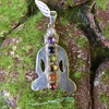 Pure silver pendant with the Chakra stones down the center. (Necklace not included)