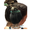 Shown as Aventurine back crown. Fits perfectly for any occasion. can wear in the back or around a bun,  as a Tierra .