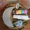 NEW-MOON Selenite Cleansing Plate, Selenite stick,Chakra Sage, Quartz Point, Celestite Crystal set