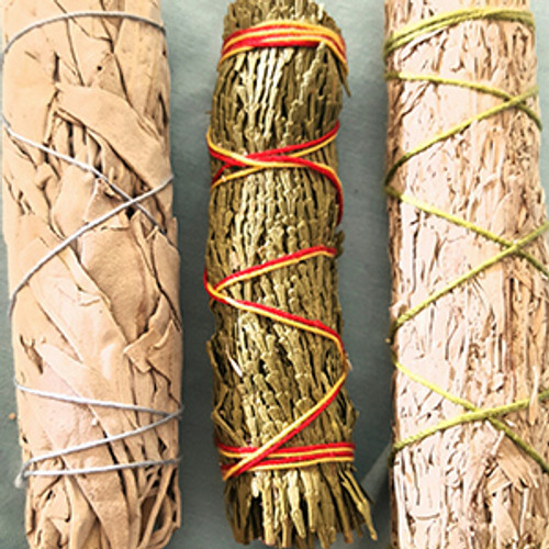Mini Sage Trio Sampler: Blue Sage, White Sage & Cedar
