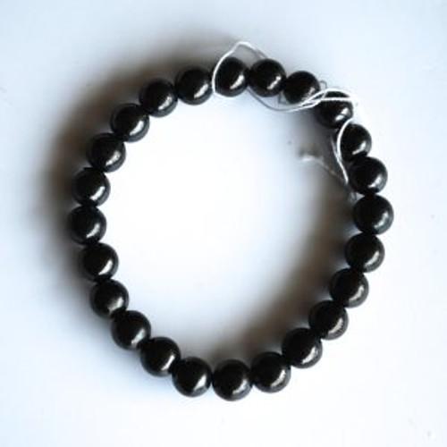Shungite Bracelet  round beads elastic One size fits all